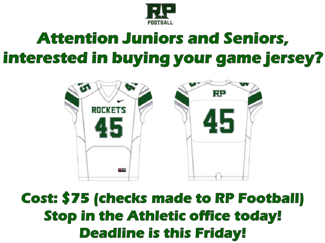 Jersey Deadline this Friday!